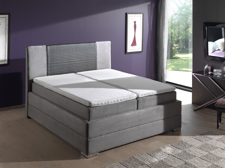 Bett Inka Doppelbett Federkern Boxspring Bettkasten Topper grau 180x200cm 01647 (Farbe wie abgebildet)