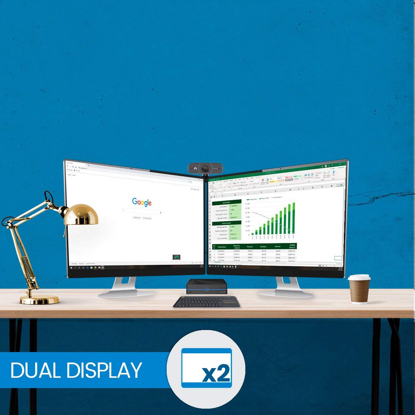 8GB//32GB Azulle Byte3 Mini PC Bundle Fanless Windows 10 Pro with Logitech K400 Plus Keyboard