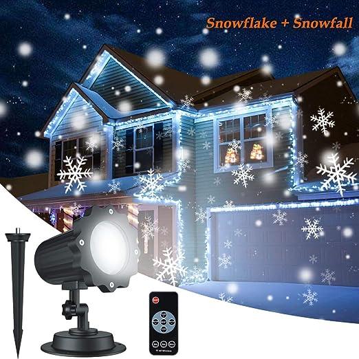 Dingcaiyi Proyector Navidad LED Nieve Luz del Proyector con ...
