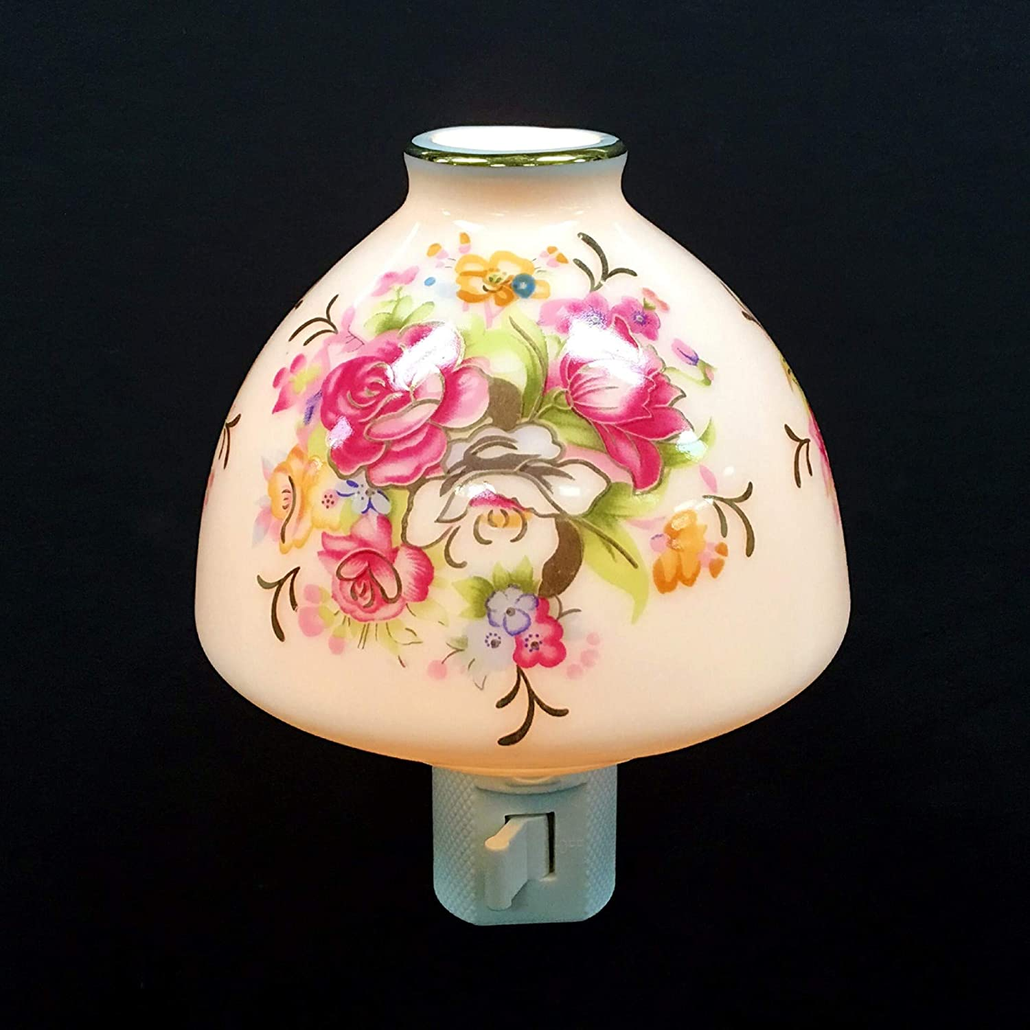 Set of 2 Hampstead Collectio Flowers Lampshade Porcelain Night Light