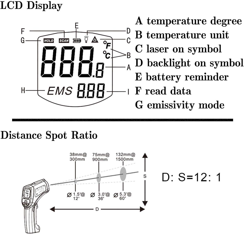 d:s 12:1 32oc /à 700oc WEWE Industrie Thermom/ètre Infrarouge,Pas-Contact Thermom/ètre Laser,Gamme Emissivit/é R/églable ℃ /° F,r/étro/éclairage LCD Display Orange