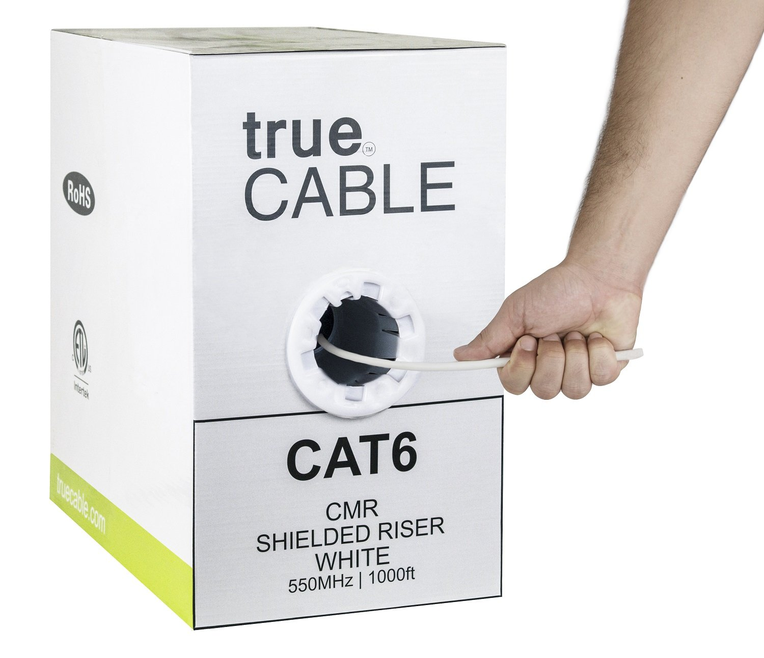 Cat6 Shielded Riser (CMR), 1000ft, White, Solid Bare Copper Bulk Ethernet Cable, 550MHz, ETL Listed, 23AWG, Overall Foil Shield (FTP), trueCABLE