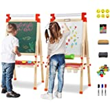 Joyooss Kids Wooden Easel with Extra Letters and Numbers Magnets, Adjustable Double Sided Drawing Board Whiteboard & Chalkboa