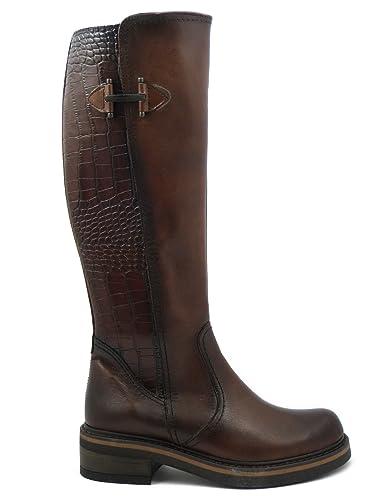 d4f49c808a OSVALDO PERICOLI, Stivali Donna al Ginocchio in Pelle Marrone, Tacco Basso  3 cm, 25033: Amazon.it: Scarpe e borse