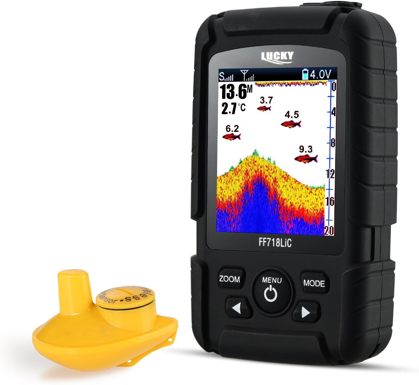 LUCKY Buscador de Peces Detector de Peces portátil inalámbrico hasta 45 m/147feet Sonar Fishfinder Ocean River Lake Color