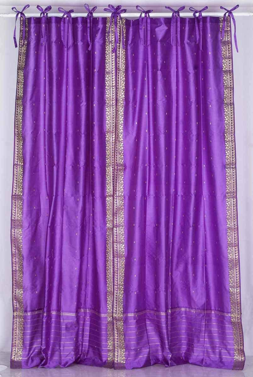 Indian Selections Lined-Lavender Tie Top Sheer Sari Curtain Drape – 60W x 120L – Piece