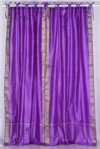 Indian Selections Lavender Tie Top Sheer Sari Curtain/Drape/Panel