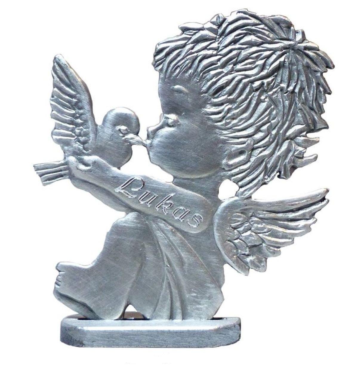 Engel mit Taube patiniert aus Zinn mit Fuß und einer persönlichen Gravur Ihrer Wahl, weitere Details zur Abwicklung finden Sie neben dem Bild (auch ohne Gravur erhältlich, siehe ASIN: B01NBWRFPS ) Wunschgravur, Zinnfigur, Vitrinenfigur, Baby-Deko, zur Gebu