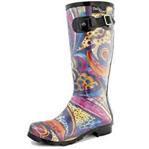 Women's DailyShoes Mid Calf Knee High Hunter Rain Boot Round Toe Rainboots, 10