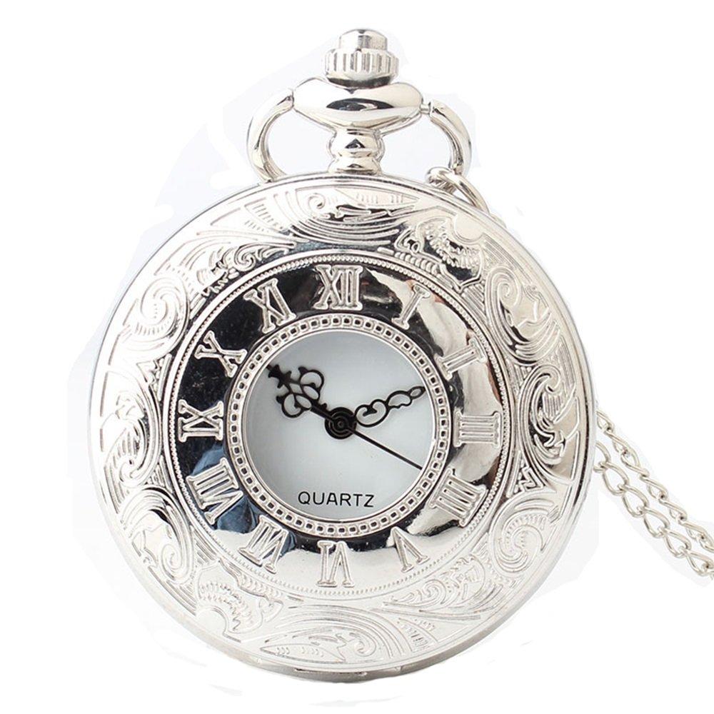 Shirleyle Hollow Vintage Quartz Pocket Watch Men Women Students Retro Long Chain Watch With White Dial