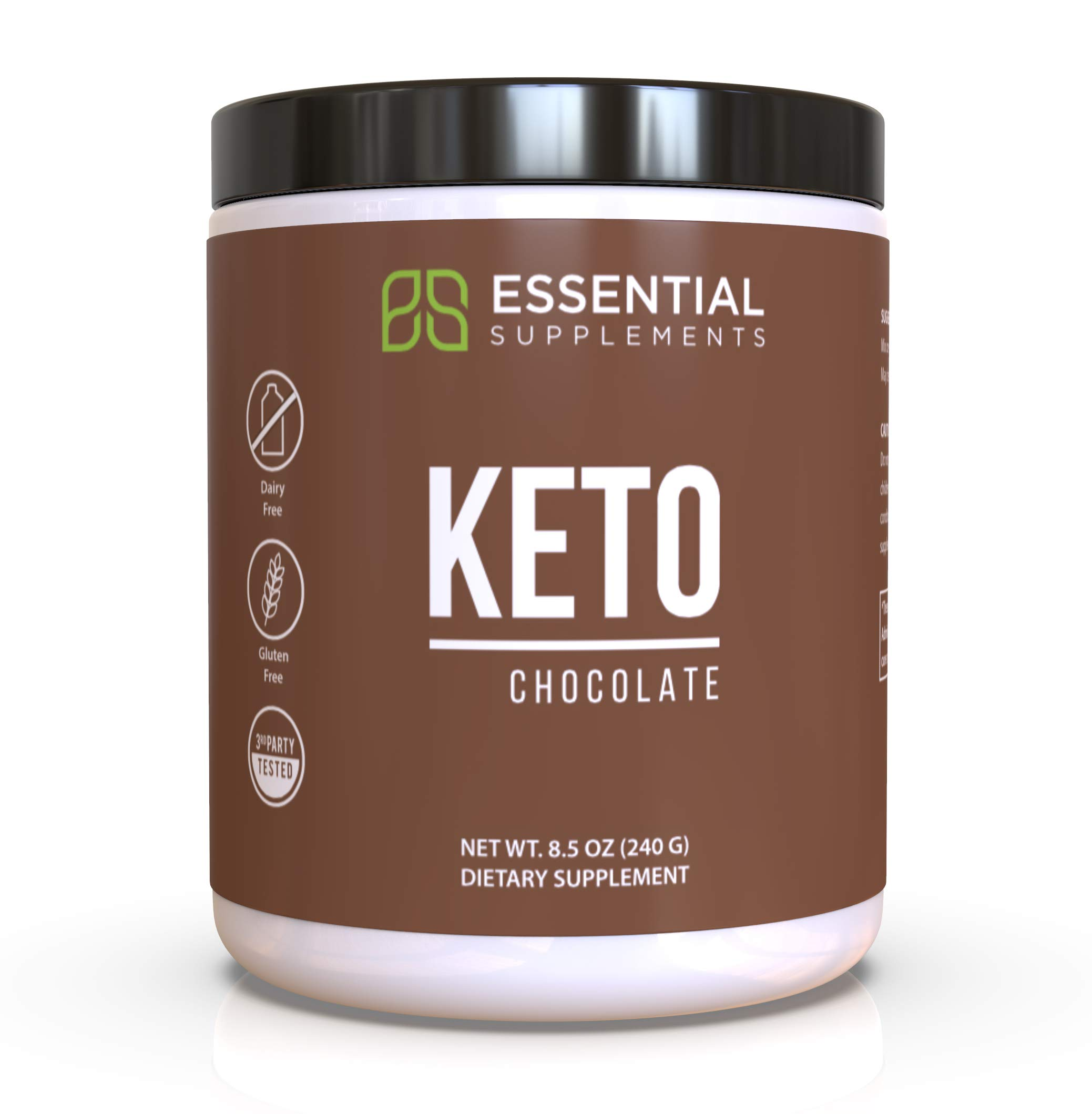 Essential Supplements® Exogenous Ketones Keto BHB Chocolate Powder for Ketogenic Diet   Supports Weight Loss, Energy, Focus and Ketosis   Beta-Hydroxybutyrate Ketone Supplement