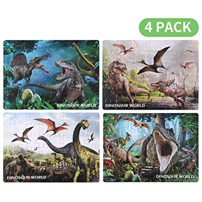 JUGROUPE 4 in 1 Dinosaur Jigsaw Puzzles for Kids Ages 4-8, Preschool Puzzles Set for Children, 24, 36, 48, 60 Pieces Animal Learning Educational Puzzles Toys Great Gift for Boys and Girls (4 Pack): Toys & Games