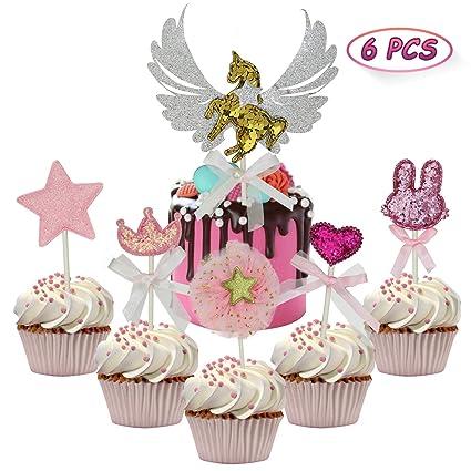 5pcs Pink Star Heart Crown Rabbit Cake Topper Set Cupcake Decoration Baby Shower Girl Birthday Party Wedding Dessert Supplies Moderate Price Party Spray Supplies