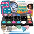 Face Paint Kit for Kids - 52 Pieces, 14 Colors, 2 Glitters, 30 Stencils, 4 Makeup Sponges, Best Quality Face Paint Party Supplies - Safe Facepainting for Sensitive Skin - Professional Costume Makeup