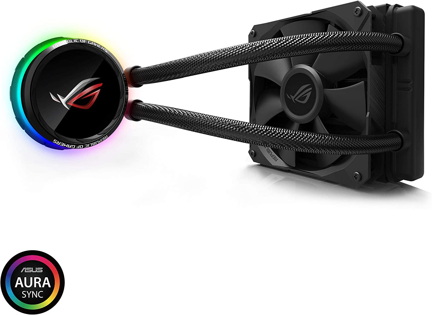 Asus ROG RYUO 120 RGB AIO Liquid CPU Cooler 120mm Radiator (120mm 4-Pin PWM Fan) with Livedash OLED Panel and Fanxpert CONTROLS