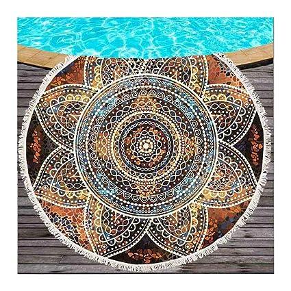 JUNYZSTJ Toalla de Playa Redonda Microfibra Toallas de Playa Mandala Dorada Flor Roundie para Adultos Serviette