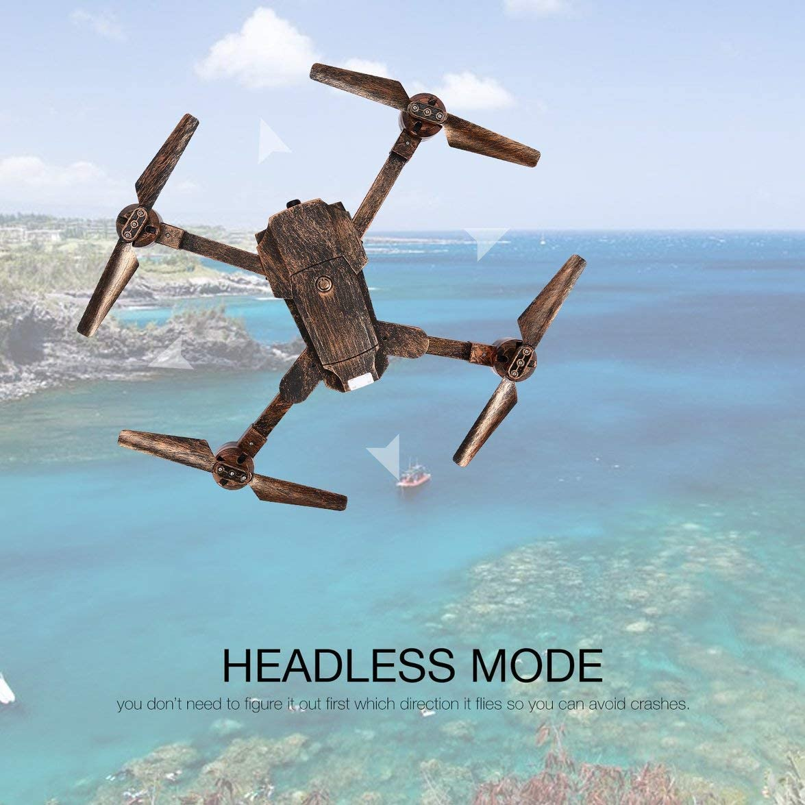 Kongqiabona Attop X-PACK1 2.4 G Drone 720P HD WiFi Cámara de Gran Angular Live Video FPV RC Quadcopter Plegable con retención de altitud sin Cabeza: Amazon.es: Hogar
