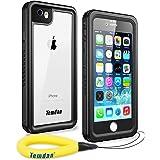 Temdan iPhone6 防水ケース iPhone6s 防水ケース IP68防水規格 完全防水 防雪 防塵 薄型 耐衝撃 長持ち ランニング用 アイフォン6/6sケース 指紋認識可 キックスタンド フローティングストラップ 軽便のアイフォンケース6/6s 4.7インチ用(黒色&透明)
