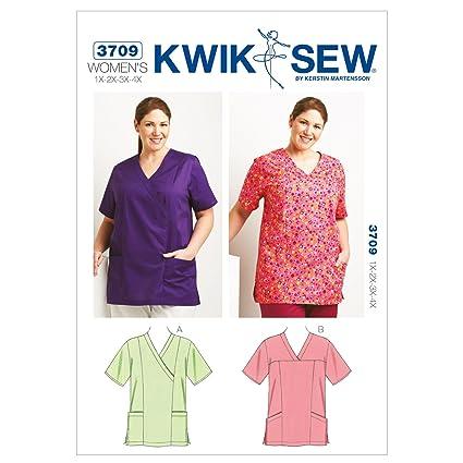 Amazon.com: Kwik Sew K3709 Scrub Tops Sewing Pattern, Size 1X-2X-3X ...