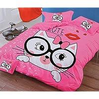 Dazling Bazaar® Cartoon Cute Cat Print 260 TC Comforter Set for Kids Double Bed (1Comforter,1Bedsheet for Children Room with 2 Pillow Cover,4piece Set(90 inch x 100 inch),Pink