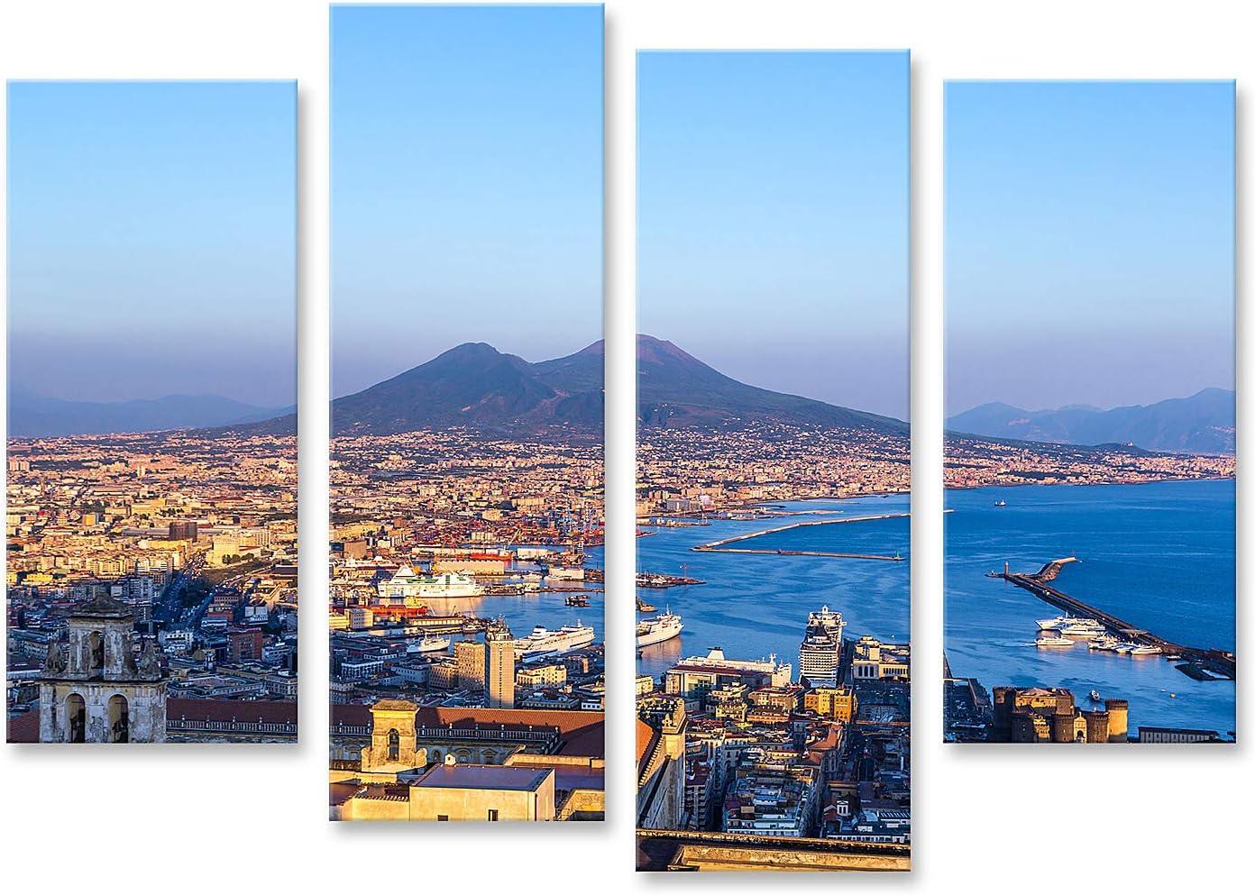 islandburner Tableau Tableaux Naples Naples et Le V/ésuve en arri/ère-Plan au Coucher du Soleil Un Jour d/ét/é Italie Campanie Cadre sur Toile Impression Photo Affiches
