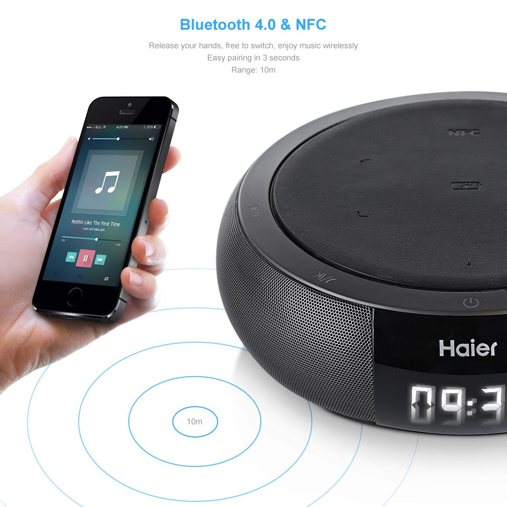 Haier Bluetooth Speaker, SoundBox Bluetooth 4.0 Qi Wireless Charging Pad HiFi Stereo Support NFC APP Control,Patented Bass Port Hands-free Call,for iPhone, iPod, iPad, Samsung,htc and others (Gray)