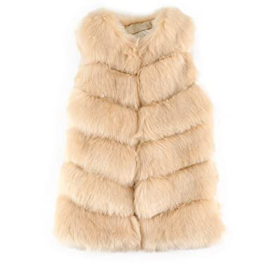 6009b5c41a16 FUNOC Women Faux Fur Gilet Waistcoat Ladies Sleeveless Vest Outwear ...
