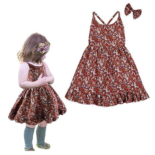 f0b00cc45 Infant Baby Girl Dress Vintage Floral Print Strap Summer Backless Sundress  Easter Skirt Red