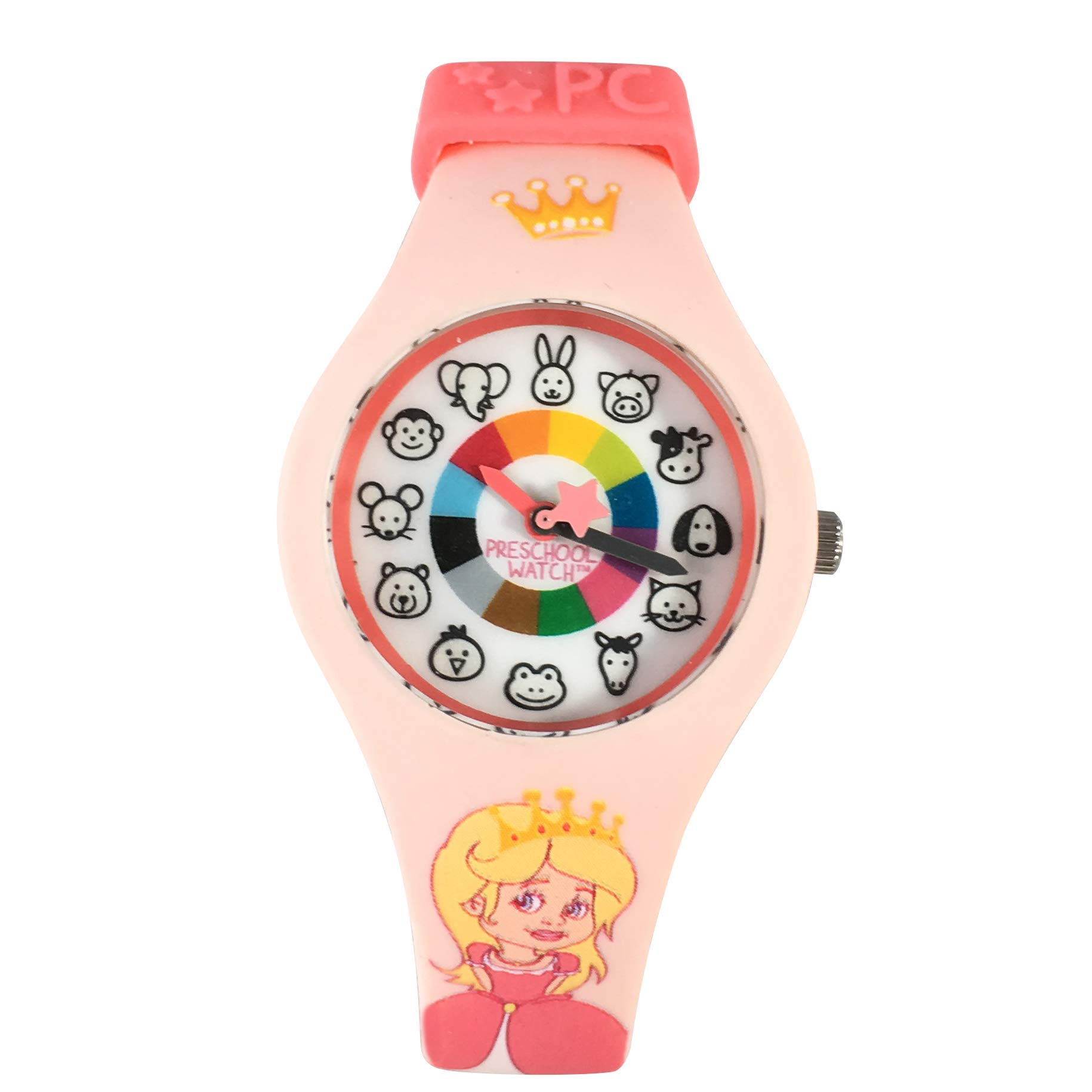 Princess Preschool Watch - The Only Analog Kids Watch Preschoolers Understand! Quality Teaching time Silicone Watch with Glow-in-The-Dark Dial & Japan Movement by PRESCHOOL COLLECTION