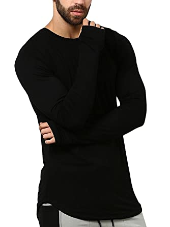 ca7b55eefe9 PAUSE Black Solid Cotton Round Neck Slim Fit Full Sleeve Men s T-Shirt
