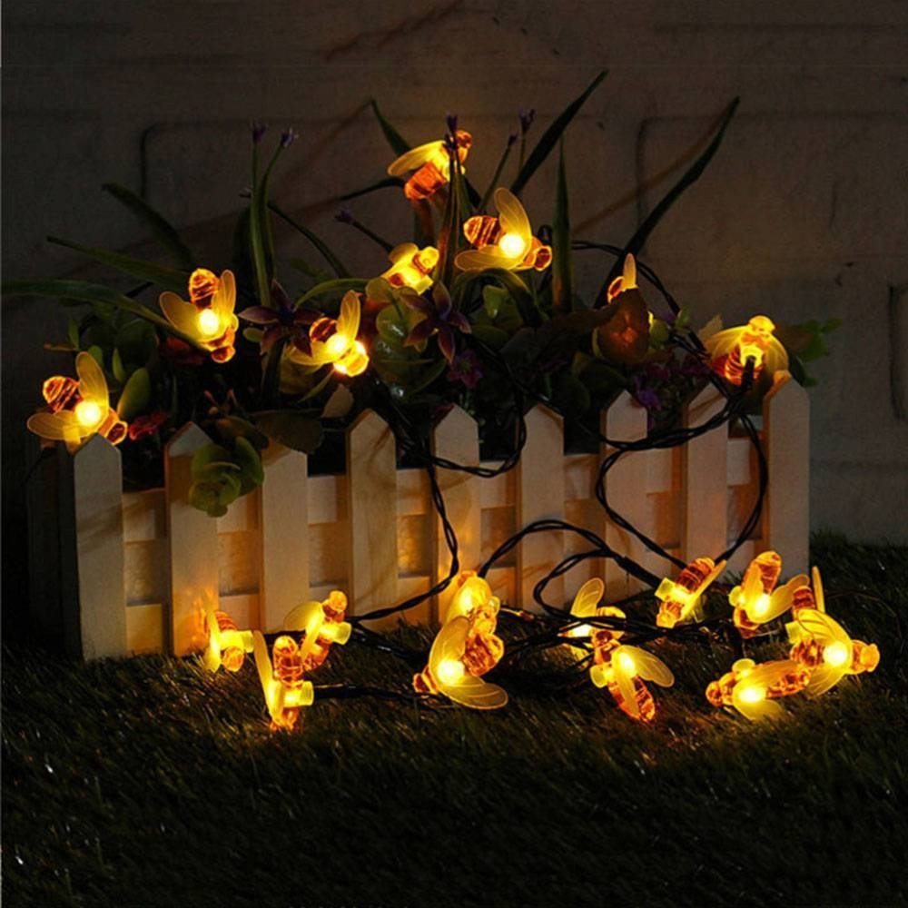 OCEAN-STORE Pretty with 30 LED Solar String Honey Bee Shape Warm Light Garden Decoration Waterproof (White) by OCEAN-STORE (Image #3)