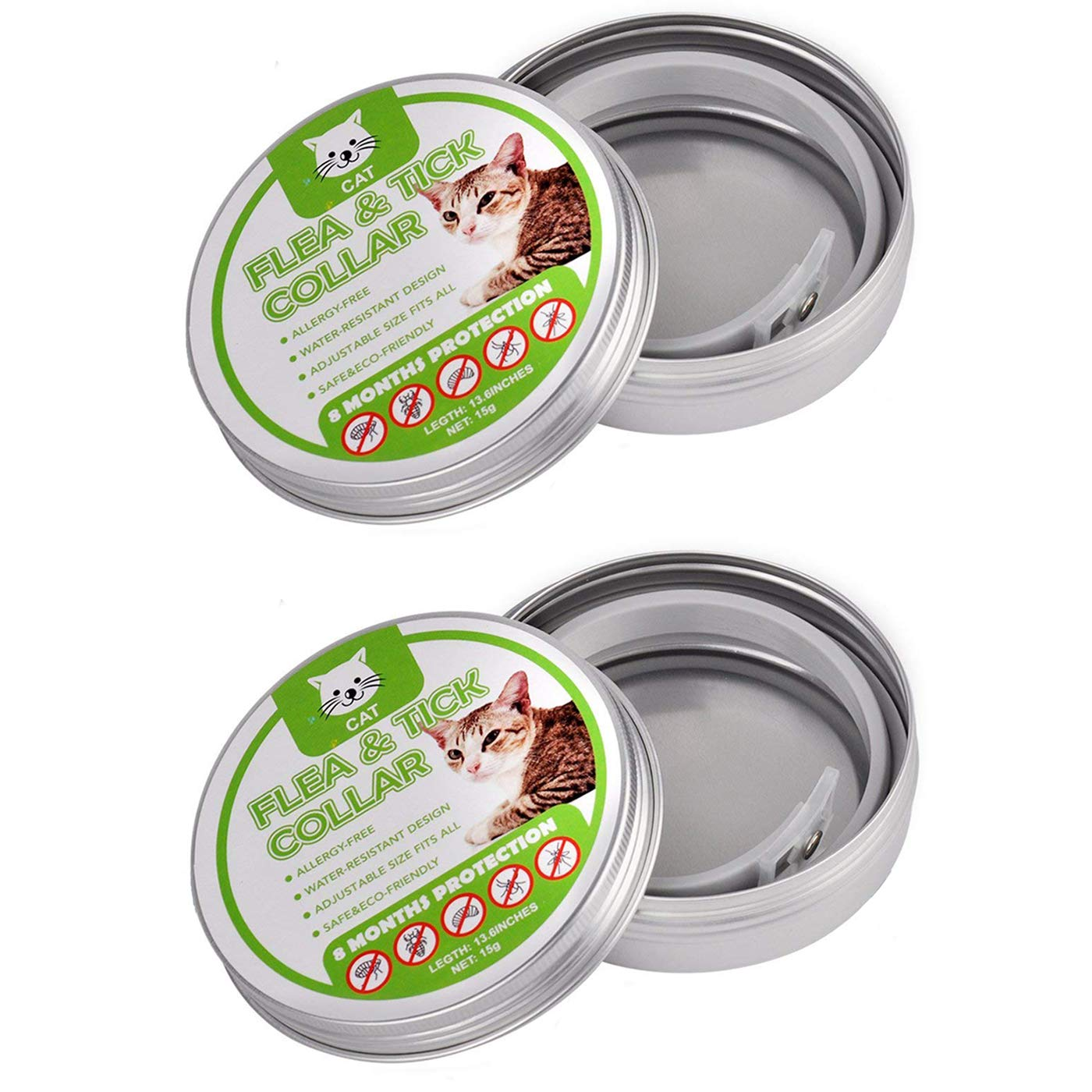 Flea and Tick Collar for Cats - Adjustable Waterproof Natural 8 Month Protection & Prevention From Fleas Ticks Mosquitos Larvae Lice Treatment