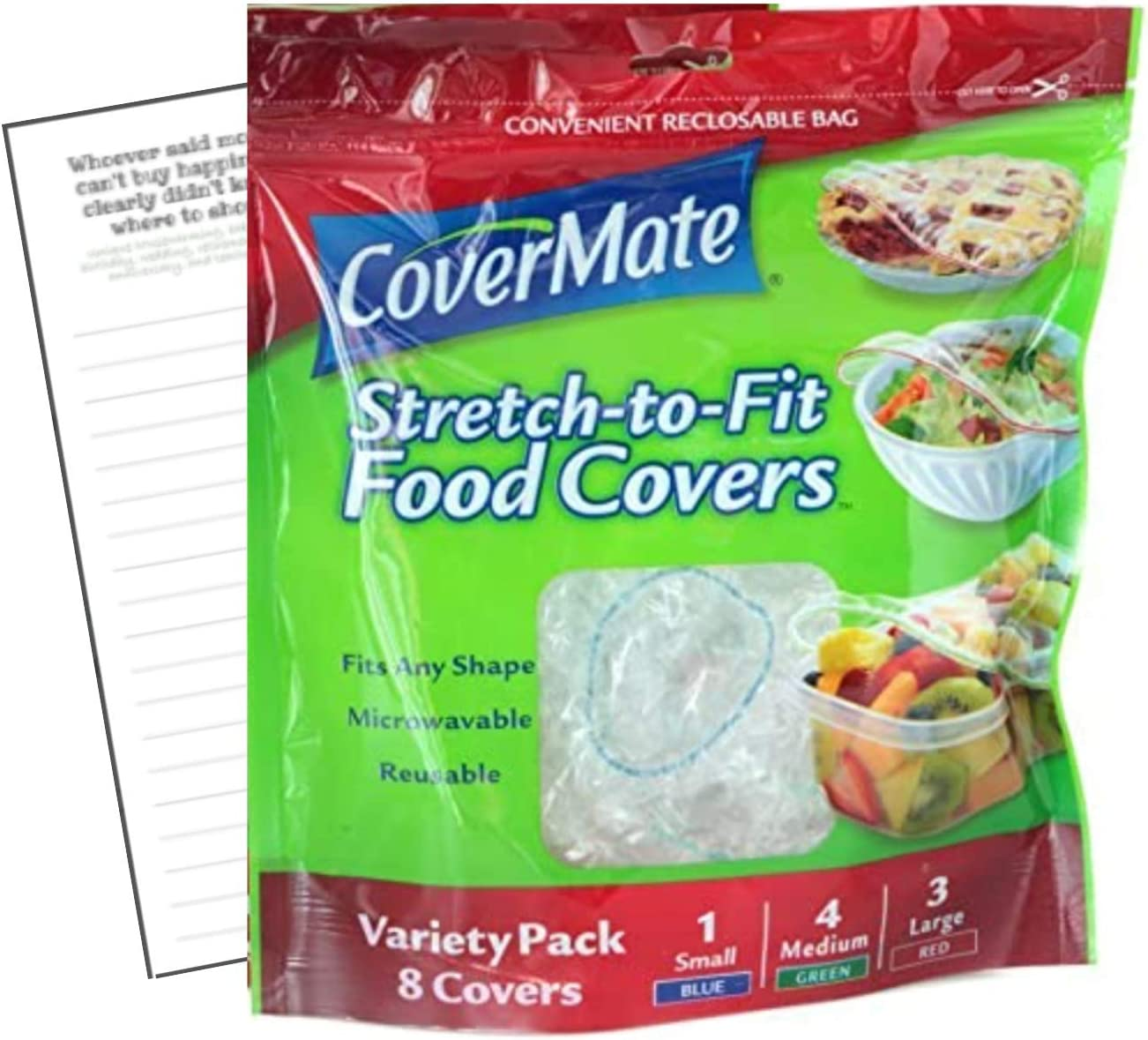 Covermate Stretch-to-fit Food Covers 1pk plus Convenient Magnetic Shopping List by Harper & Ivy Designs, Reusable, Dishwasher Safe, Microwavable, BPA/PVC Free, Great for Leftovers, Heavy Duty, 3 Sizes