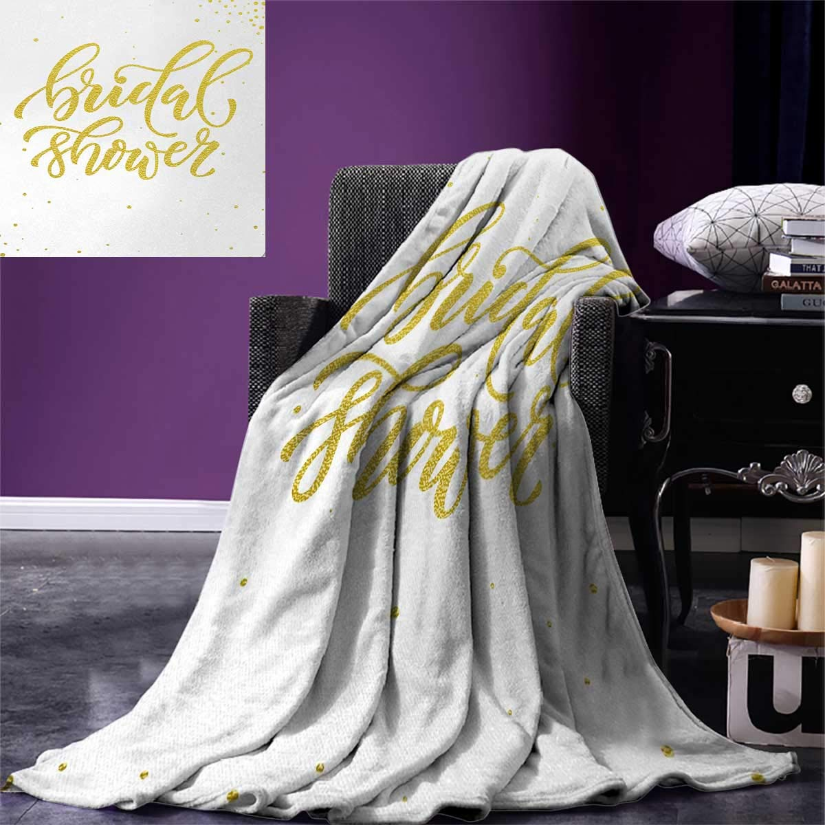 Bridal Shower Digital Printing Blanket Hand Written Sketch Design Ivy Lettering Bride Party with Dots Image Summer Quilt Comforter 80''x60'' Yellow and White