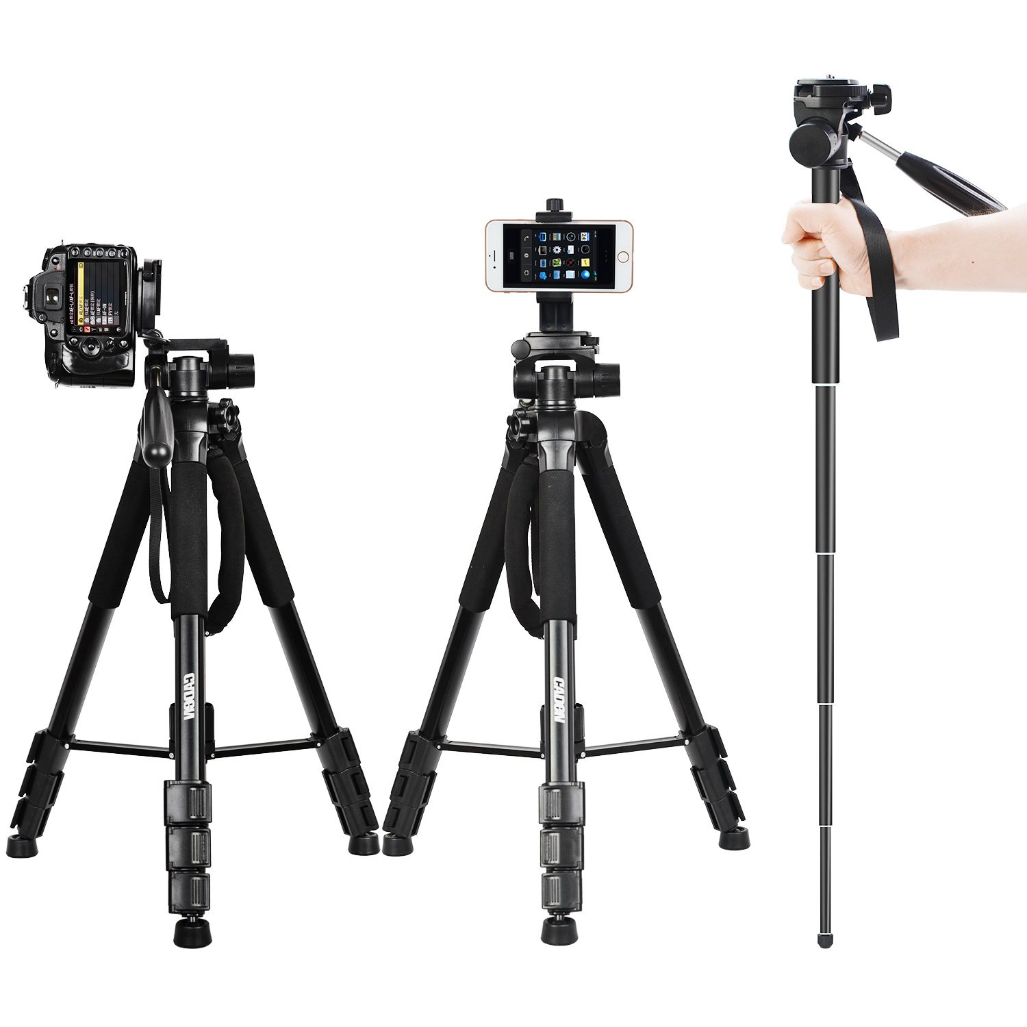70'' DSLR Camera Tripod Travel Monopod Lightweight Portable Aluminum Tripod for Canon Nikon Sony SLR Camera with Carry bag and CellPhone Mount