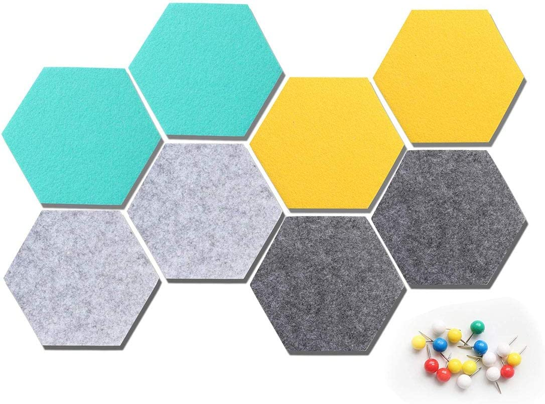 HyFanStr Hexagon Felt Cork Board Tiles Push Pin Board Cork Wall Tiles for Wall Decor, Colored Corkboard Memo Board Bulletin Boards Notice Photo Display Board for Home Office, 8 Pack 16 Pins