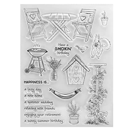 Amazon Vktech Furniture Clear Stamps For Card Making Scrapbook