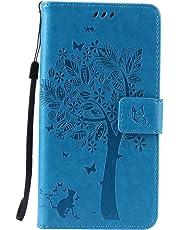 Lomogo Funda Galaxy Note 5, Funda de Cuero con Cartera para Tarjetas y Cierre Magnetico Soporte Plegable Carcasa Libro Antigolpes para Samsung Galaxy Note5 - EKATU23373 Azul