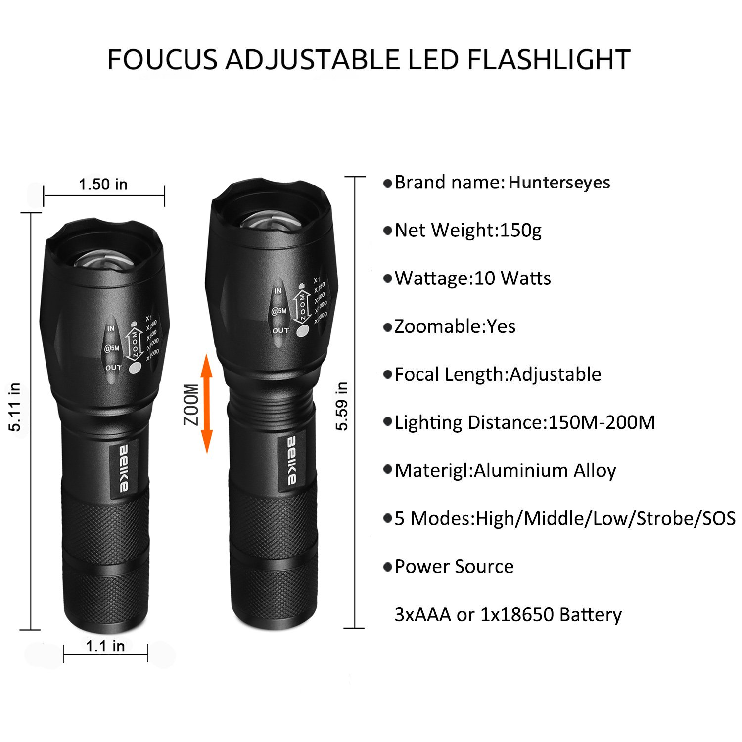 Beike 2 Pack 1000 lumens Tactical Flashlights, Super Bright Handheld Outdoor CREE LED Torch Flashlight with Adjustable Focus 5 Light Modes for Camping Hiking Emergency(AAA Batteries Included) by Beike (Image #5)