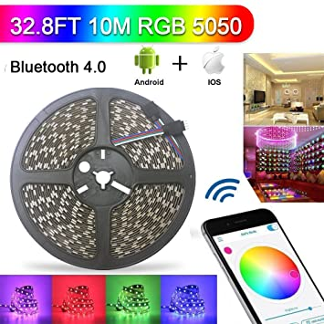 Amazon abelle bluetooth led strip light 328ft rgb non abelle bluetooth led strip light 328ft rgb non waterproof 10m 5050 smd led rope light aloadofball Gallery