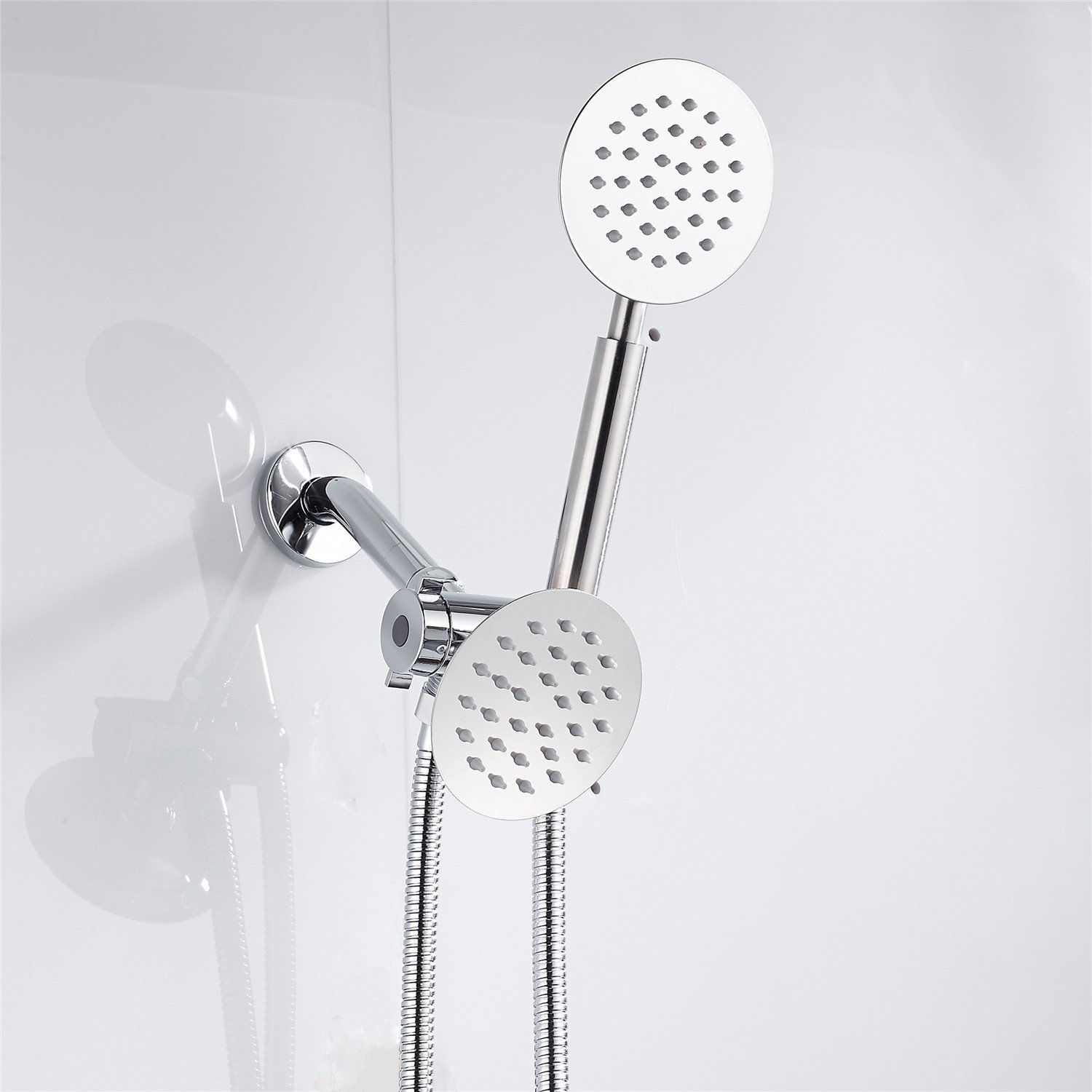 SOQO Universal Bath shower head Stainless Steel 4 Inch Top Spray High Flow Water Showerhead Chrome