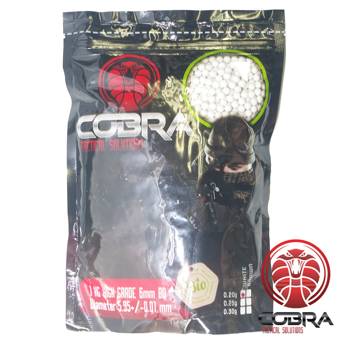 Cobra Tactical Solutions Billes BB Airsoft de Haute qualité Bio Blanche 0, 20g Sac de 1 kg - 6mm 5000BBs