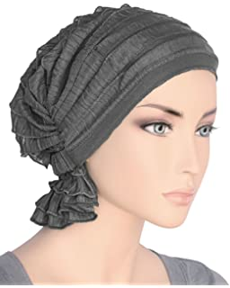 2472bf5c6ec Turban Plus The Abbey Cap in Ruffle Fabric Chemo Caps Cancer Hats for Women