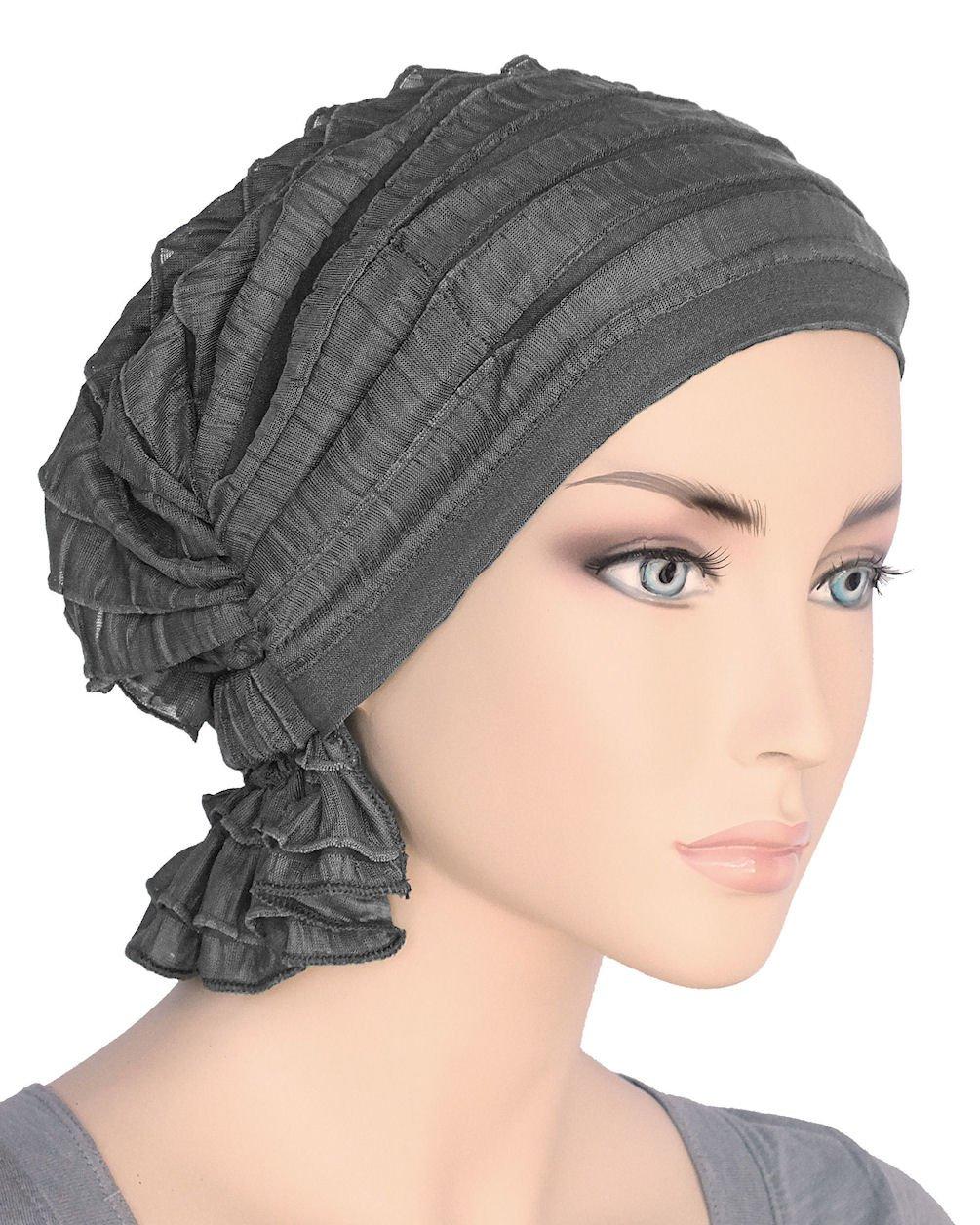 Abbey Cap Womens Chemo Hat Beanie Scarf Turban Headwear for Cancer Ruffle Charcoal Gray