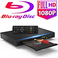 Tojock 1080P Blu Ray DVD Player HDMI AV Output DTS Sound Effect, Region Free Upscaling TV HD DVD Player 2.0 USB Input, Coaxial Built-in PAL/NTSC System with HDMI AV Cables Remote Control