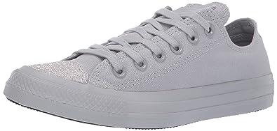 a3bccad0e96e37 Converse Women s Unisex Chuck Taylor All Star Glitter Accent Low Top  Sneaker Wolf Grey Silver