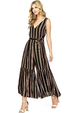 c46f1f4045b6 Amazon.com  Flying Tomato Women s Juniors Stripe Bohemian Wide Leg ...