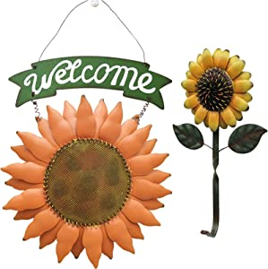 TISOSO Rustic Sunflower Welcome Sign with One Sunflower Home Hook Keys Hanging Sign Vintage Metal Welcome Door Sign for Outdoor Entryway Bathroom Garden Patio Porch Lawn Wall Art Decoration (Set of 2)