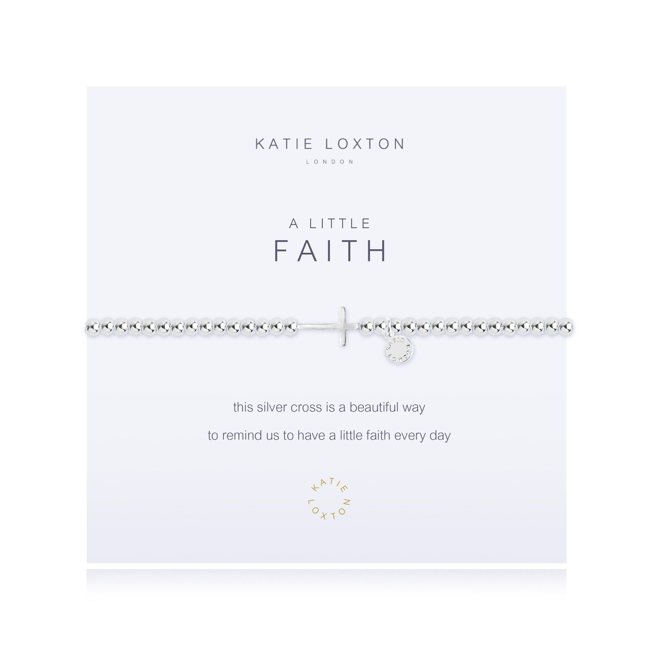 Katie Loxton A Little Faith Horizontal Cross Silver Women's Stretch Adjustable Charm Bangle Bracelet by Katie Loxton