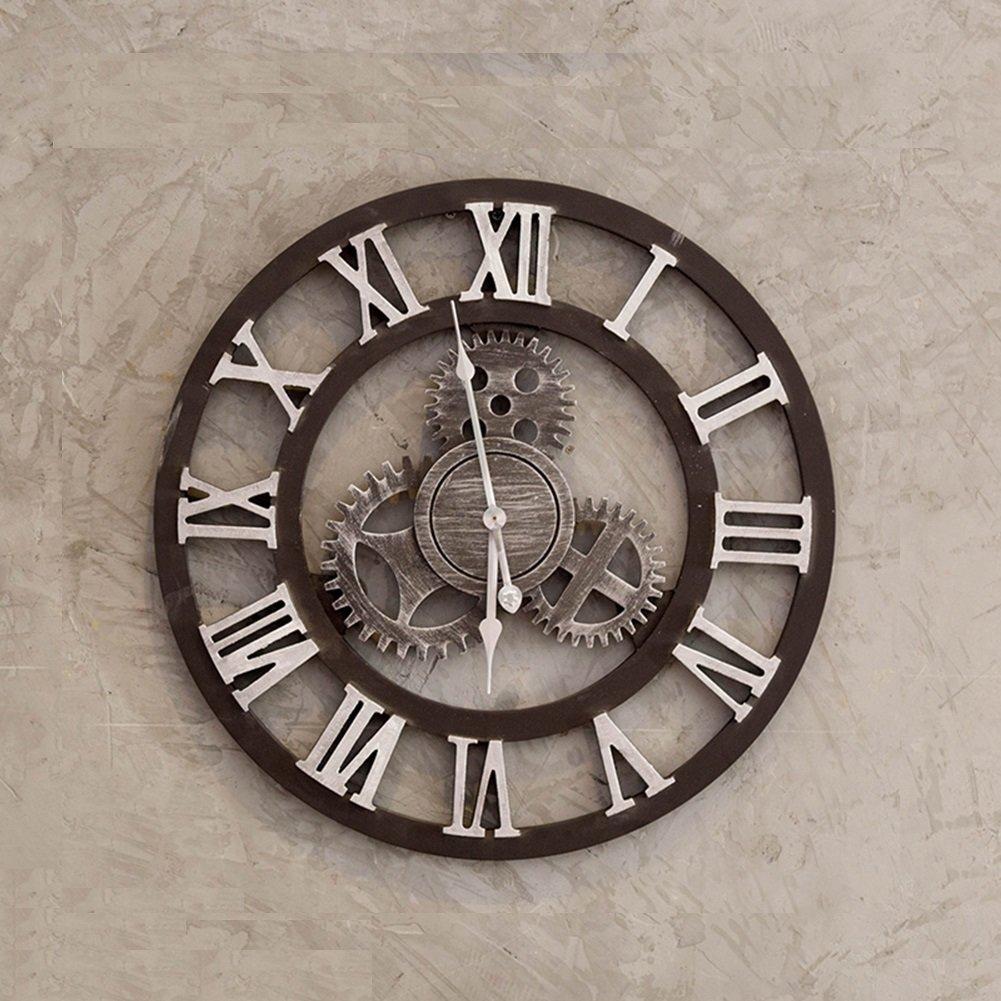 AODISHA ソリッドウッドの壁時計、カフェバーレストランリビングルームの壁時計木製の壁時計の装飾ビンテージウォールクロック直径49.5から70CM より多くの装飾を取る (色 : #4) B07F11N9SS#4
